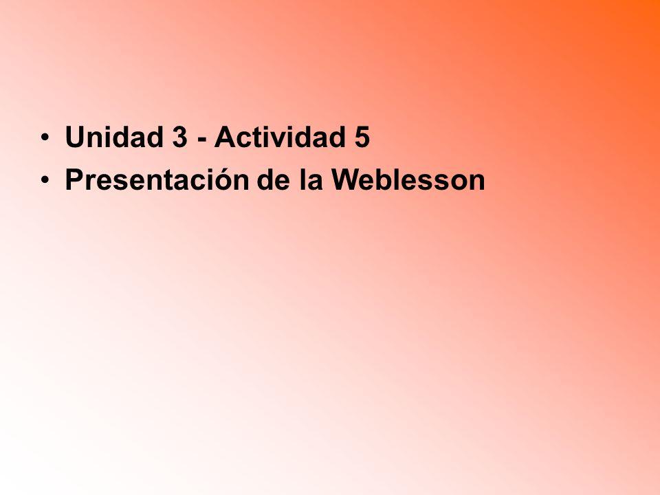 Unidad 3 - Actividad 5 Presentación de la Weblesson