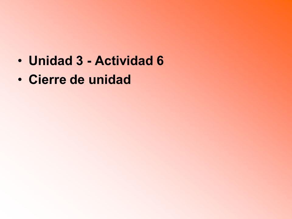 Unidad 3 - Actividad 6 Cierre de unidad