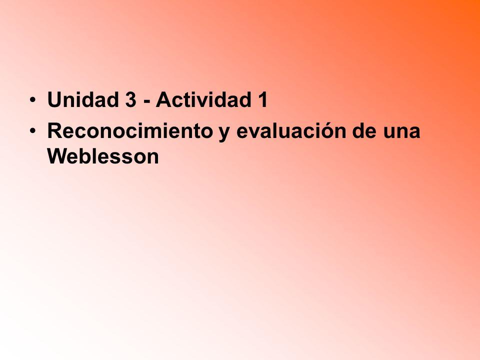 Unidad 3 - Actividad 1 Reconocimiento y evaluación de una Weblesson