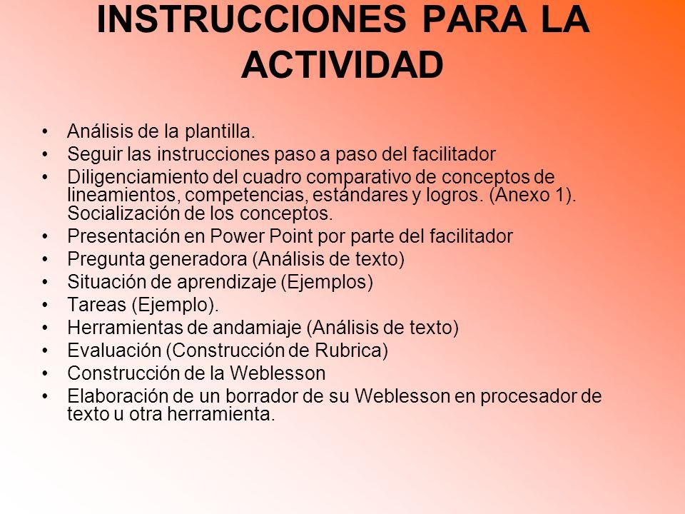 INSTRUCCIONES PARA LA ACTIVIDAD Análisis de la plantilla.