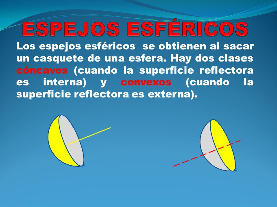 Los espejos esféricos se obtienen al sacar un casquete de una esfera. Hay dos clases cóncavos (cuando la superficie reflectora es interna) y convexos