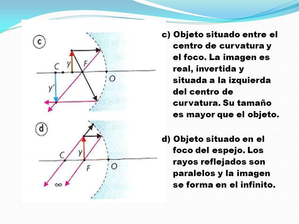 c) Objeto situado entre el centro de curvatura y el foco. La imagen es real, invertida y situada a la izquierda del centro de curvatura. Su tamaño es