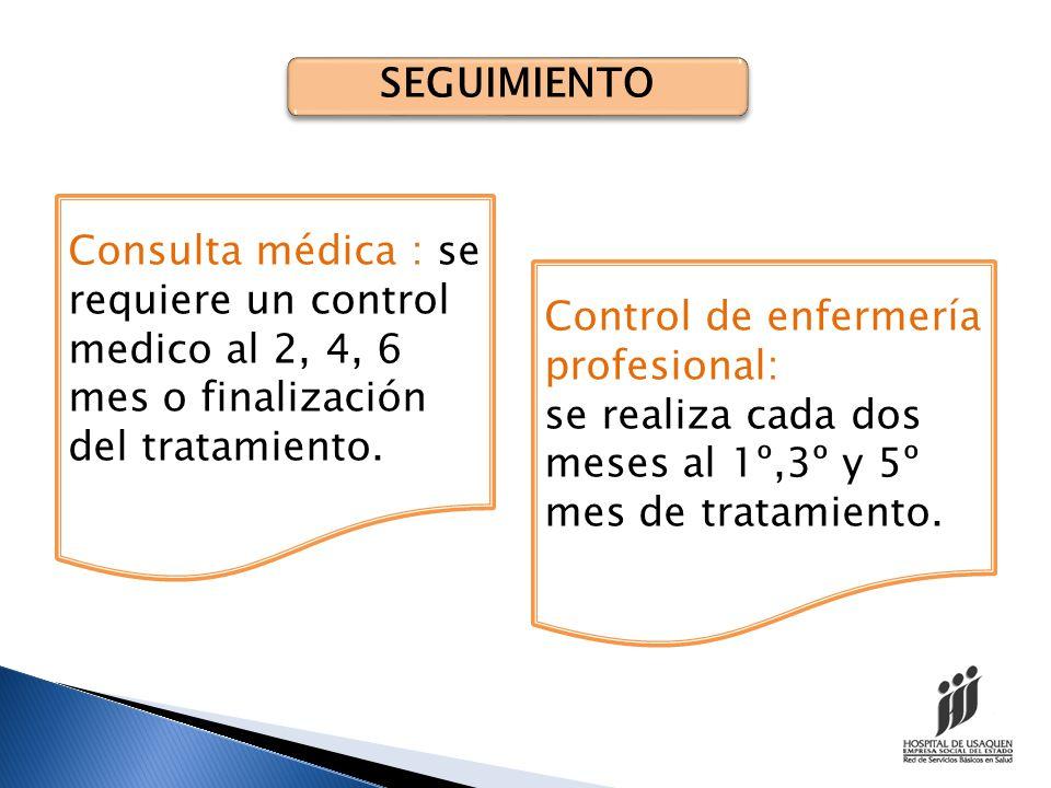 SEGUIMIENTO BACTERILOGICO Se hace control bacteriológico de la muestra de esputo de cada paciente al 2º,4º,6º mes de tratamiento.
