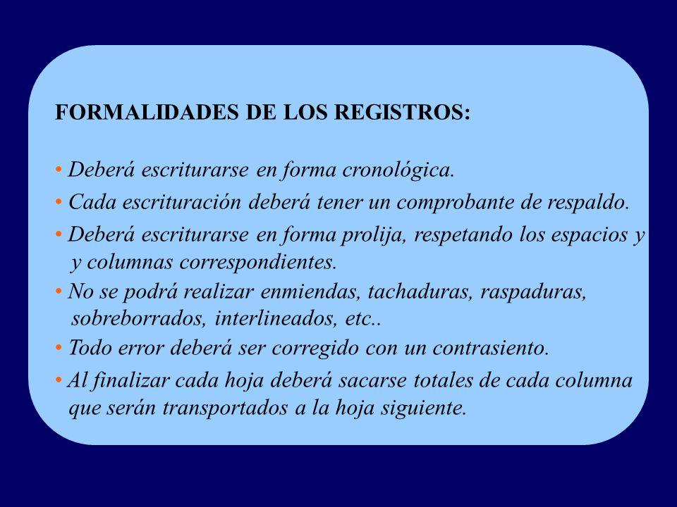 FORMALIDADES DE LOS REGISTROS: Deberá escriturarse en forma cronológica.
