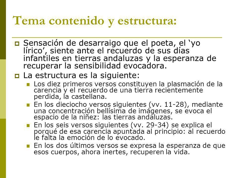 Tema contenido y estructura: Sensación de desarraigo que el poeta, el yo lírico, siente ante el recuerdo de sus días infantiles en tierras andaluzas y