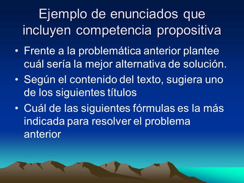 Ejemplo de enunciados que incluyen competencia propositiva Frente a la problemática anterior plantee cuál sería la mejor alternativa de solución. Segú