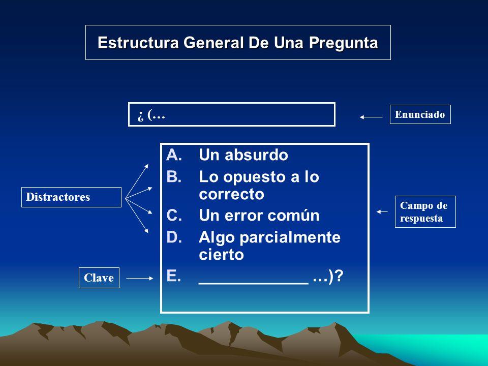 Estructura General De Una Pregunta A.Un absurdo B.Lo opuesto a lo correcto C.Un error común D.Algo parcialmente cierto E.____________ …)? ¿ (… Enuncia