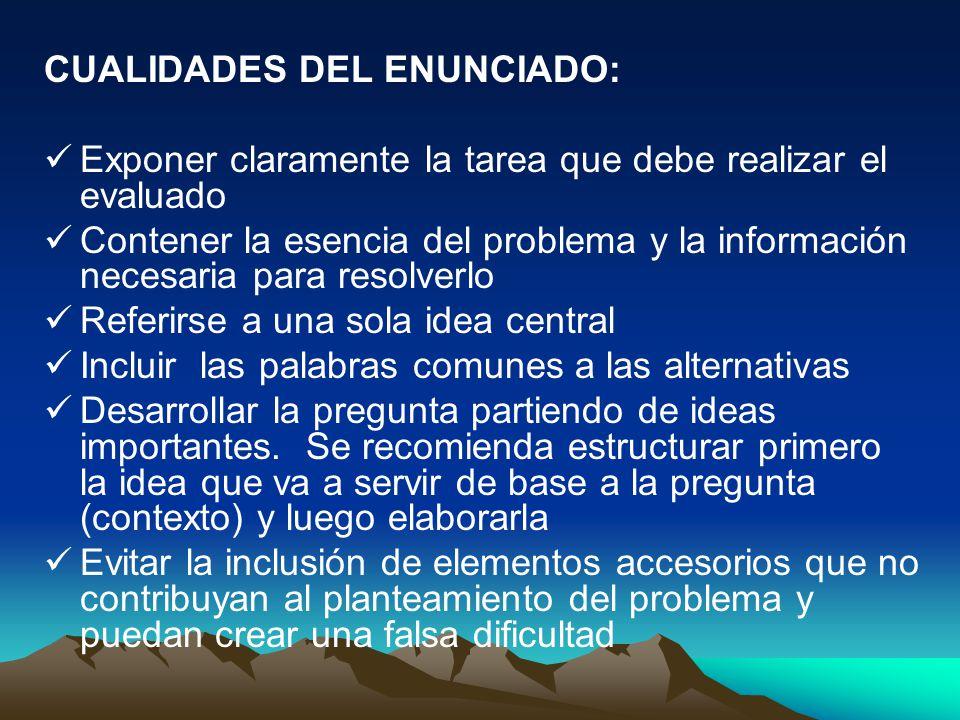 CUALIDADES DEL ENUNCIADO: Exponer claramente la tarea que debe realizar el evaluado Contener la esencia del problema y la información necesaria para r