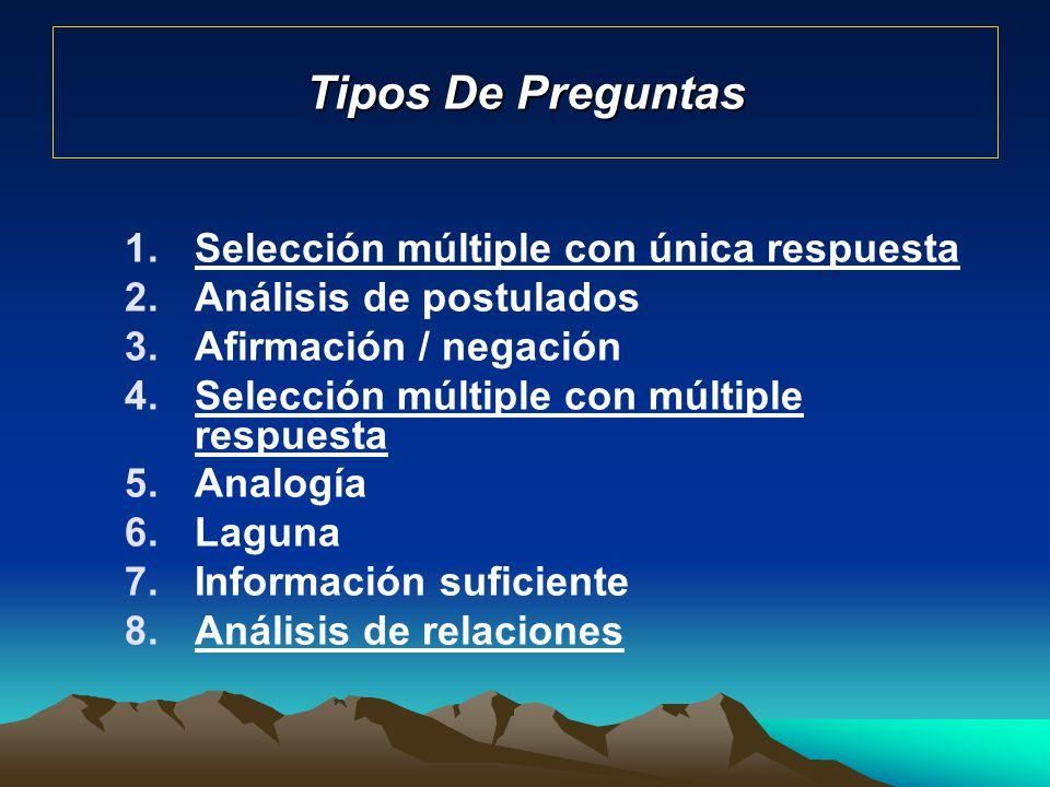 Tipos De Preguntas 1.Selección múltiple con única respuesta 2.Análisis de postulados 3.Afirmación / negación 4.Selección múltiple con múltiple respues