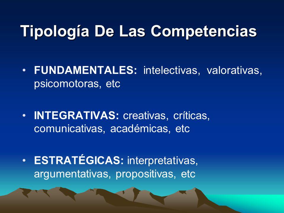 Tipología De Las Competencias FUNDAMENTALES: intelectivas, valorativas, psicomotoras, etc INTEGRATIVAS: creativas, críticas, comunicativas, académicas