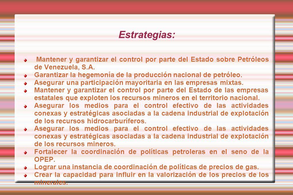 Estrategias: Mantener y garantizar el control por parte del Estado sobre Petróleos de Venezuela, S.A. Garantizar la hegemonía de la producción naciona