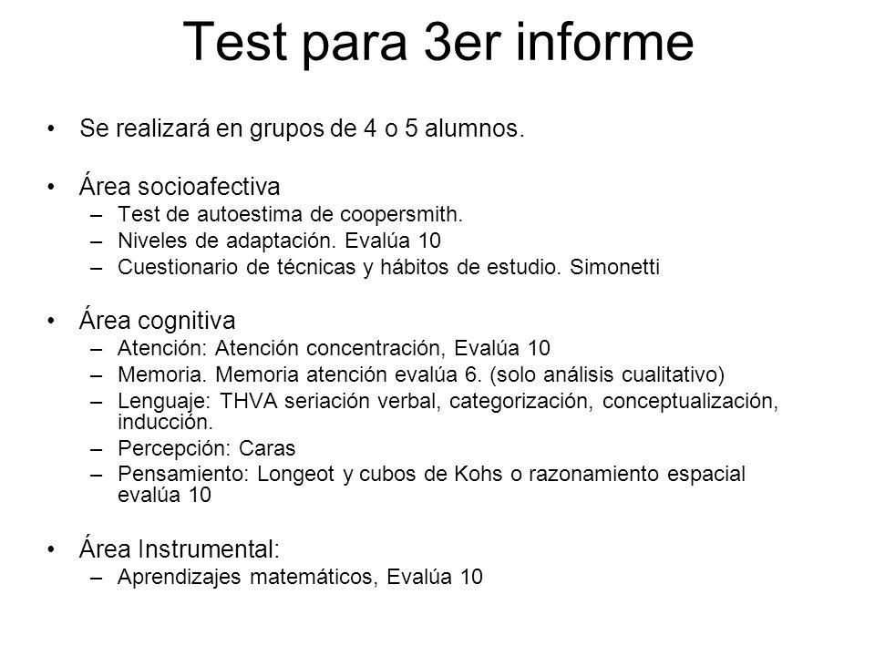 Test para 3er informe Se realizará en grupos de 4 o 5 alumnos. Área socioafectiva –Test de autoestima de coopersmith. –Niveles de adaptación. Evalúa 1