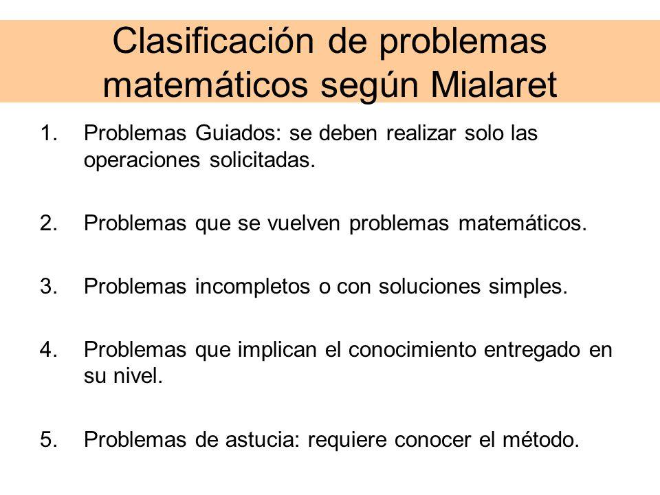 Clasificación de problemas matemáticos según Mialaret 1.Problemas Guiados: se deben realizar solo las operaciones solicitadas. 2.Problemas que se vuel