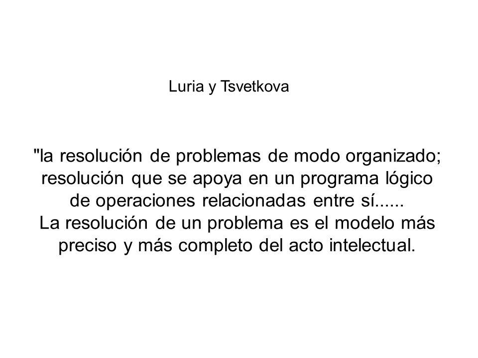 la resolución de problemas de modo organizado; resolución que se apoya en un programa lógico de operaciones relacionadas entre sí......