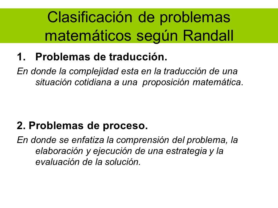 Clasificación de problemas matemáticos según Randall 1.Problemas de traducción. En donde la complejidad esta en la traducción de una situación cotidia