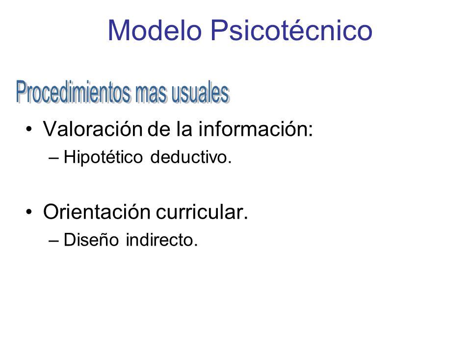 Modelo Psicotécnico Valoración de la información: –Hipotético deductivo. Orientación curricular. –Diseño indirecto.