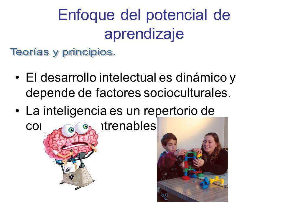 Enfoque del potencial de aprendizaje El desarrollo intelectual es dinámico y depende de factores socioculturales. La inteligencia es un repertorio de