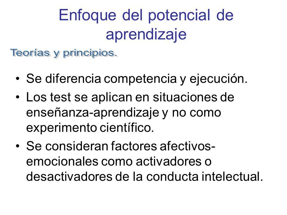 Enfoque del potencial de aprendizaje Se diferencia competencia y ejecución. Los test se aplican en situaciones de enseñanza-aprendizaje y no como expe