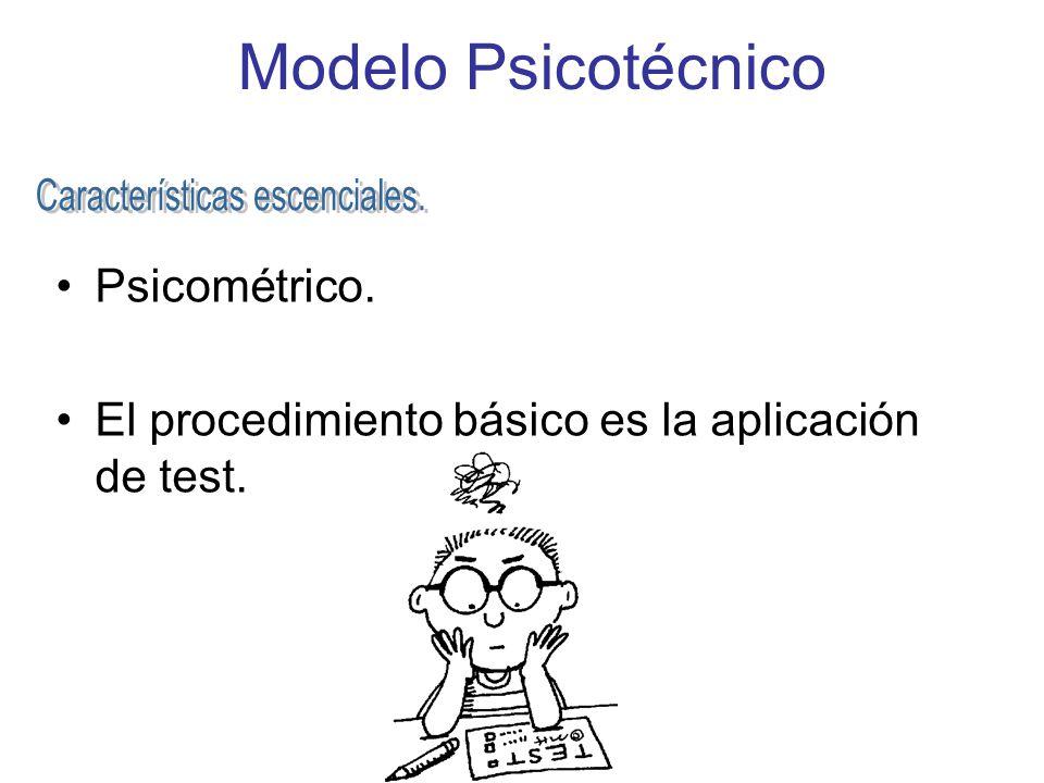 Modelo Psicotécnico Psicométrico. El procedimiento básico es la aplicación de test.