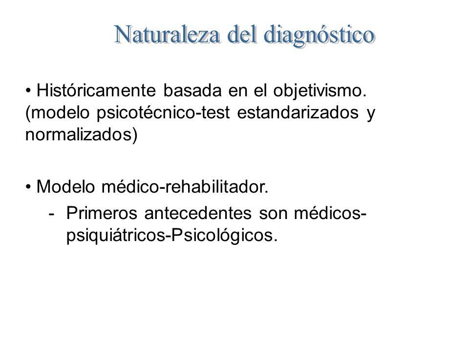 Históricamente basada en el objetivismo. (modelo psicotécnico-test estandarizados y normalizados) Modelo médico-rehabilitador. -Primeros antecedentes