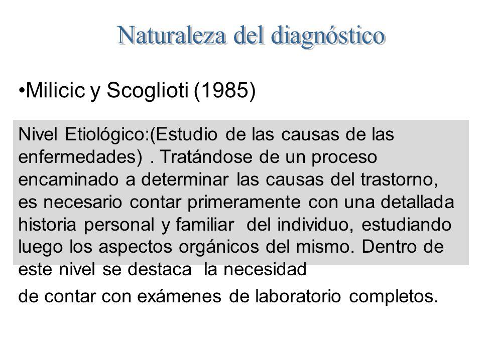 Milicic y Scoglioti (1985) Nivel Etiológico:(Estudio de las causas de las enfermedades). Tratándose de un proceso encaminado a determinar las causas d