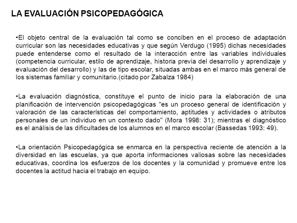 El objeto central de la evaluación tal como se conciben en el proceso de adaptación curricular son las necesidades educativas y que según Verdugo (199