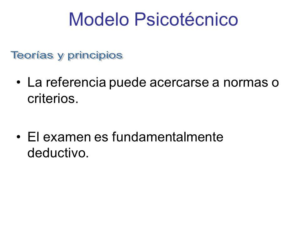 Modelo Psicotécnico La referencia puede acercarse a normas o criterios. El examen es fundamentalmente deductivo.