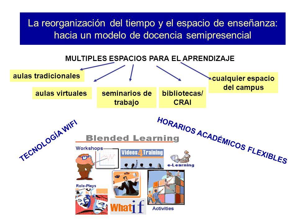 La reorganización del tiempo y el espacio de enseñanza: hacia un modelo de docencia semipresencial MULTIPLES ESPACIOS PARA EL APRENDIZAJE aulas virtua