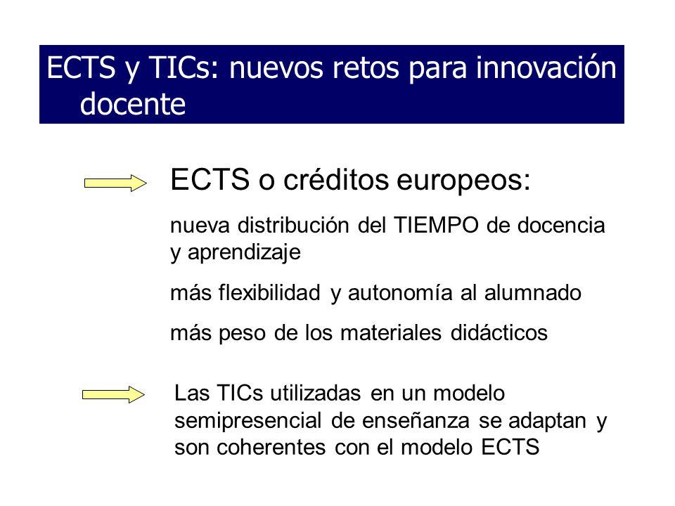 ECTS y TICs: nuevos retos para innovación docente ECTS o créditos europeos: nueva distribución del TIEMPO de docencia y aprendizaje más flexibilidad y
