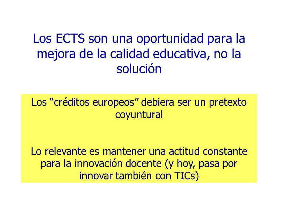 Los ECTS son una oportunidad para la mejora de la calidad educativa, no la solución Los créditos europeos debiera ser un pretexto coyuntural Lo releva