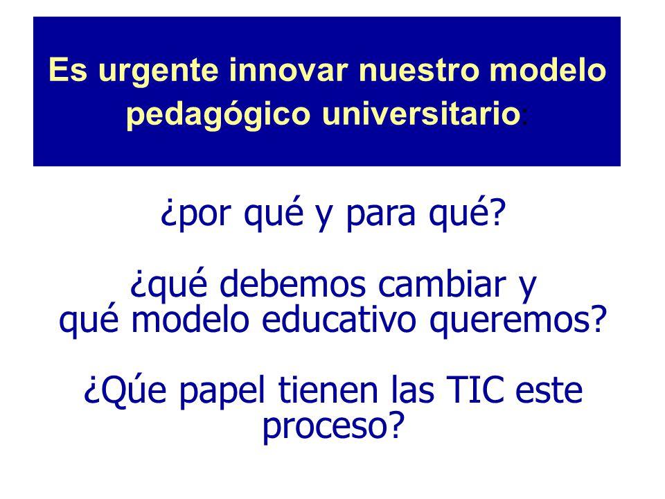 Es urgente innovar nuestro modelo pedagógico universitario : ¿por qué y para qué? ¿qué debemos cambiar y qué modelo educativo queremos? ¿Qúe papel tie
