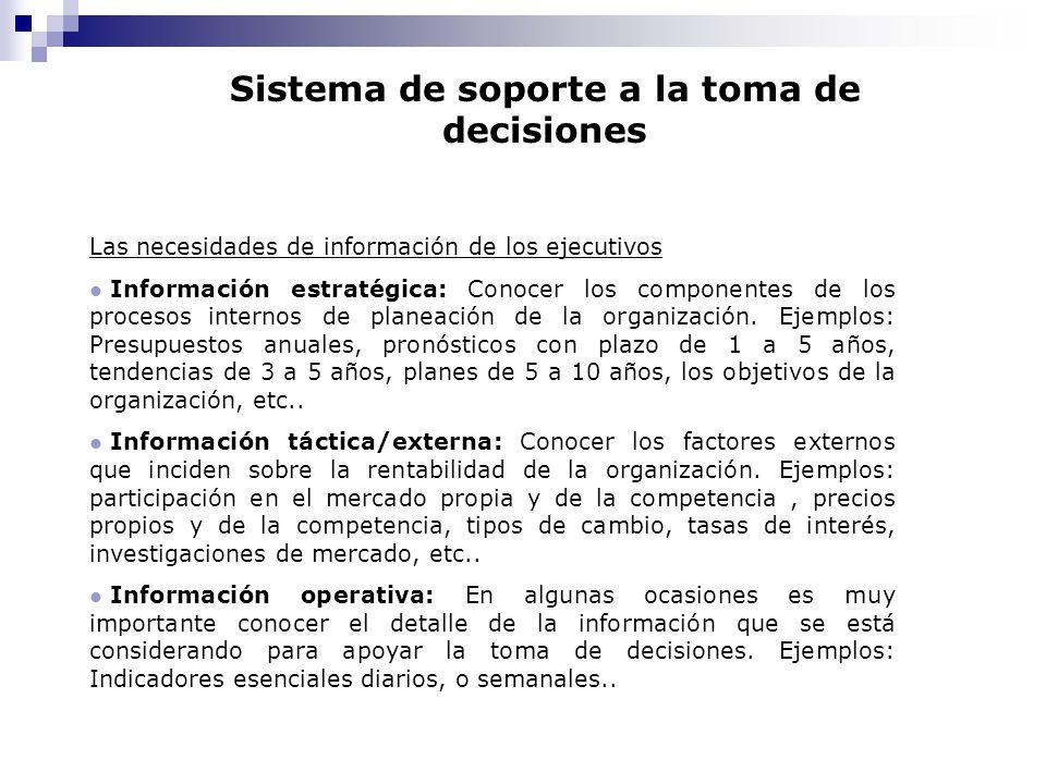 Sistema de soporte a la toma de decisiones Las necesidades de información de los ejecutivos l Información estratégica: Conocer los componentes de los