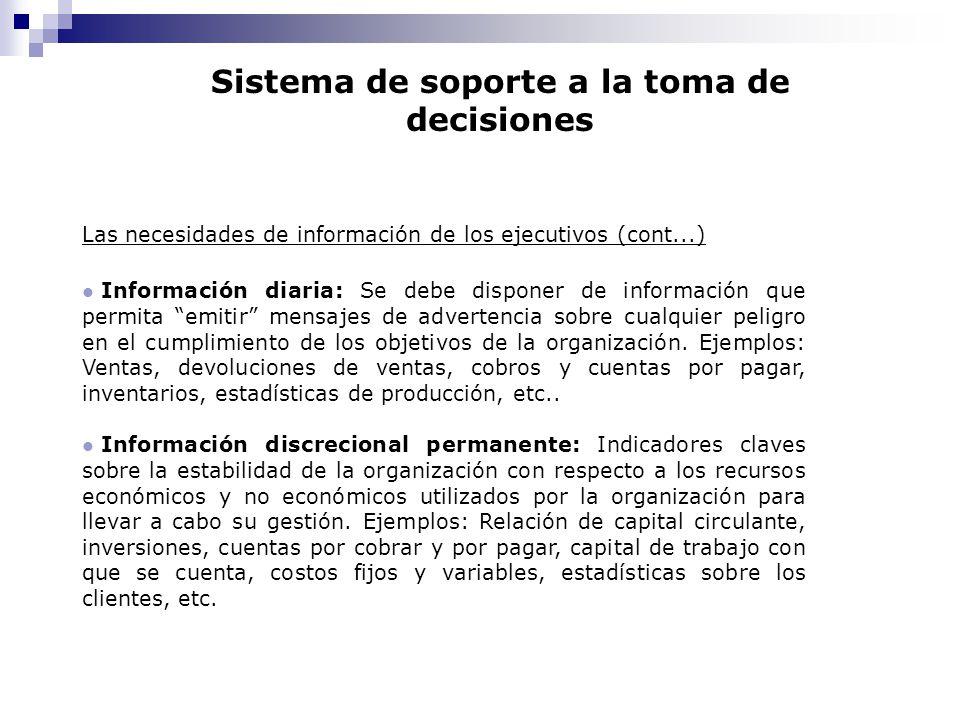 Sistema de soporte a la toma de decisiones Las necesidades de información de los ejecutivos (cont...) l Información diaria: Se debe disponer de inform