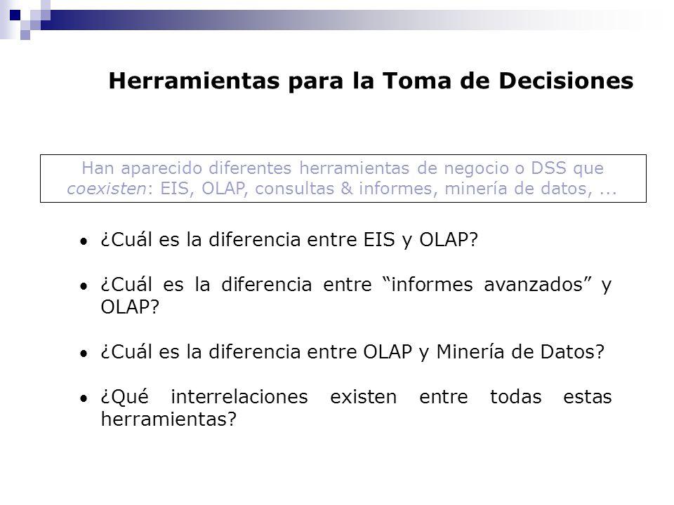 Herramientas para la Toma de Decisiones ¿Cuál es la diferencia entre EIS y OLAP? ¿Cuál es la diferencia entre informes avanzados y OLAP? ¿Cuál es la d