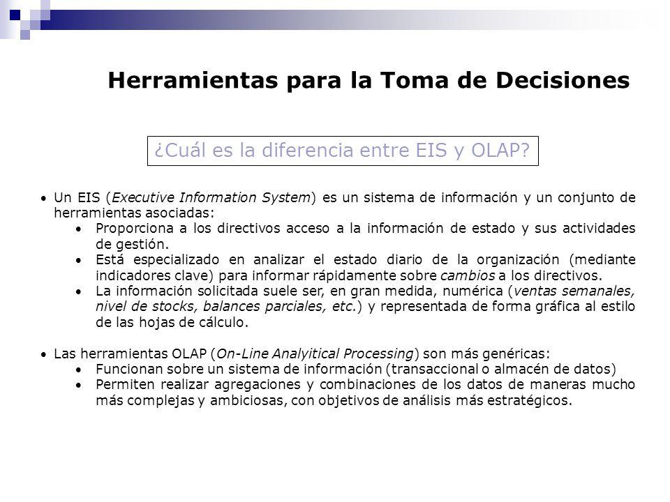 Herramientas para la Toma de Decisiones Un EIS (Executive Information System) es un sistema de información y un conjunto de herramientas asociadas: Pr