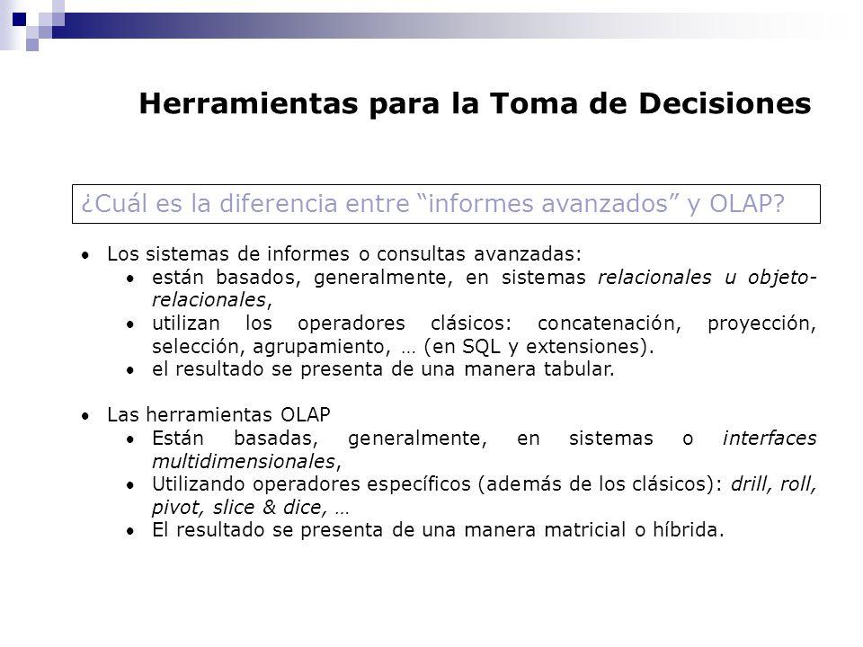 Herramientas para la Toma de Decisiones ¿Cuál es la diferencia entre informes avanzados y OLAP? Los sistemas de informes o consultas avanzadas: están