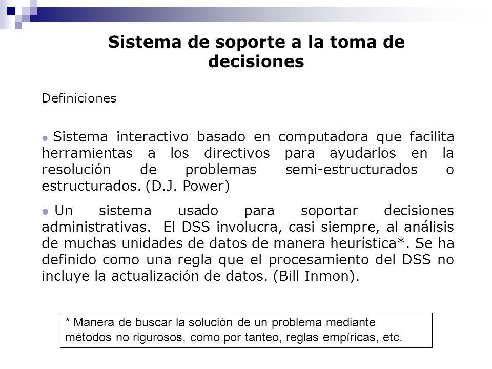 Sistema de soporte a la toma de decisiones Definiciones l Sistema interactivo basado en computadora que facilita herramientas a los directivos para ay