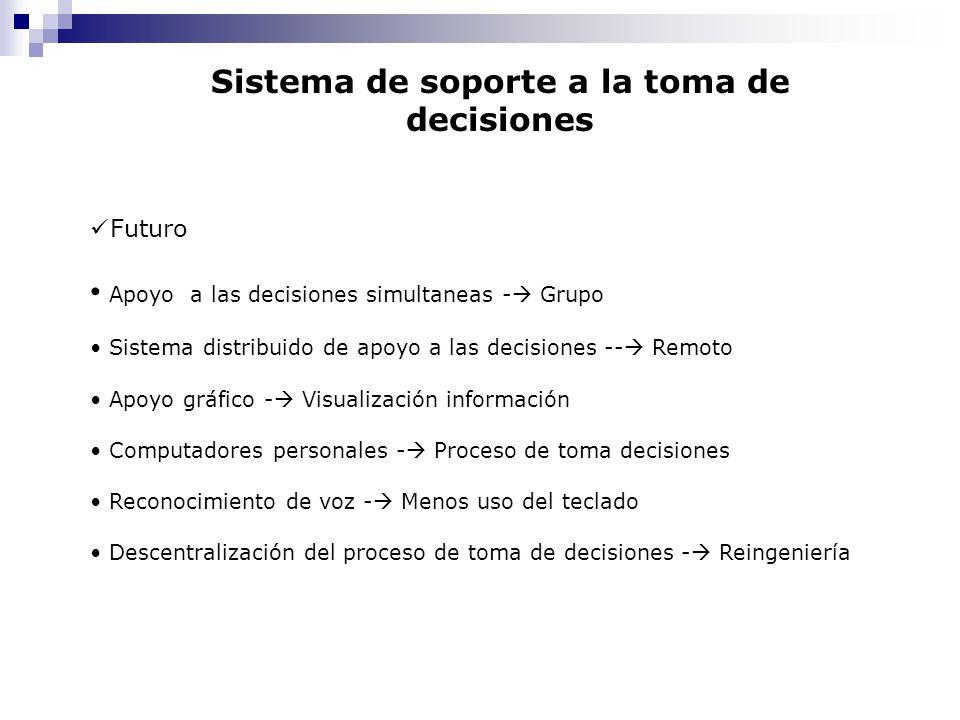 Futuro Apoyo a las decisiones simultaneas - Grupo Sistema distribuido de apoyo a las decisiones -- Remoto Apoyo gráfico - Visualización información Co