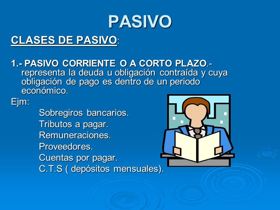 PASIVO CLASES DE PASIVO : 1.- PASIVO CORRIENTE O A CORTO PLAZO.- representa la deuda u obligación contraída y cuya obligación de pago es dentro de un