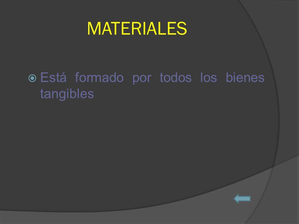 MATERIALES Está formado por todos los bienes tangibles