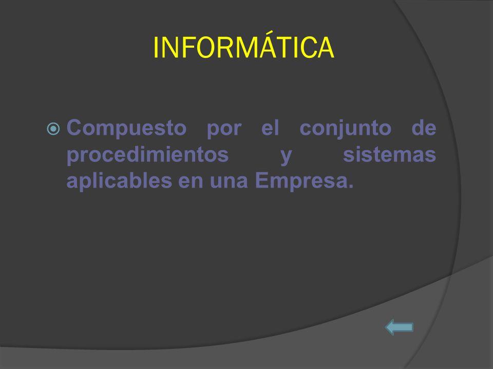 INFORMÁTICA Compuesto por el conjunto de procedimientos y sistemas aplicables en una Empresa.