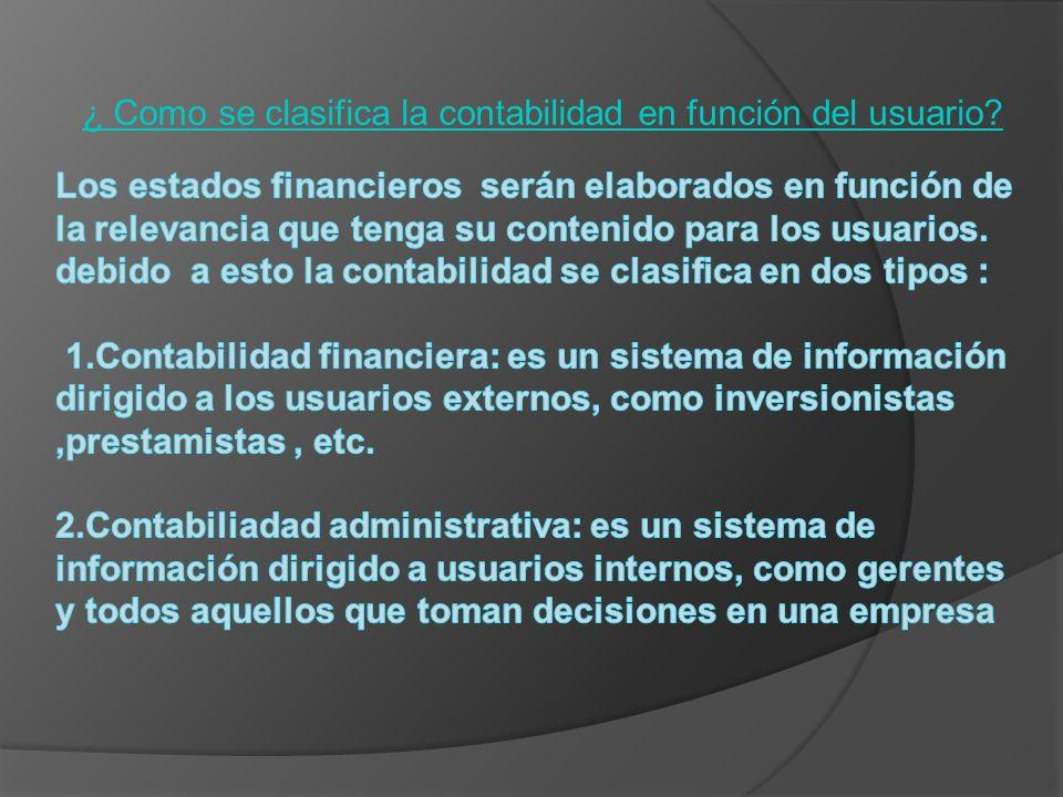 ¿ Como se clasifica la contabilidad en función del usuario?