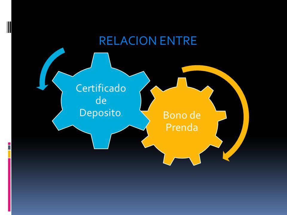Bono de Prenda Certificado de Deposito. RELACION ENTRE