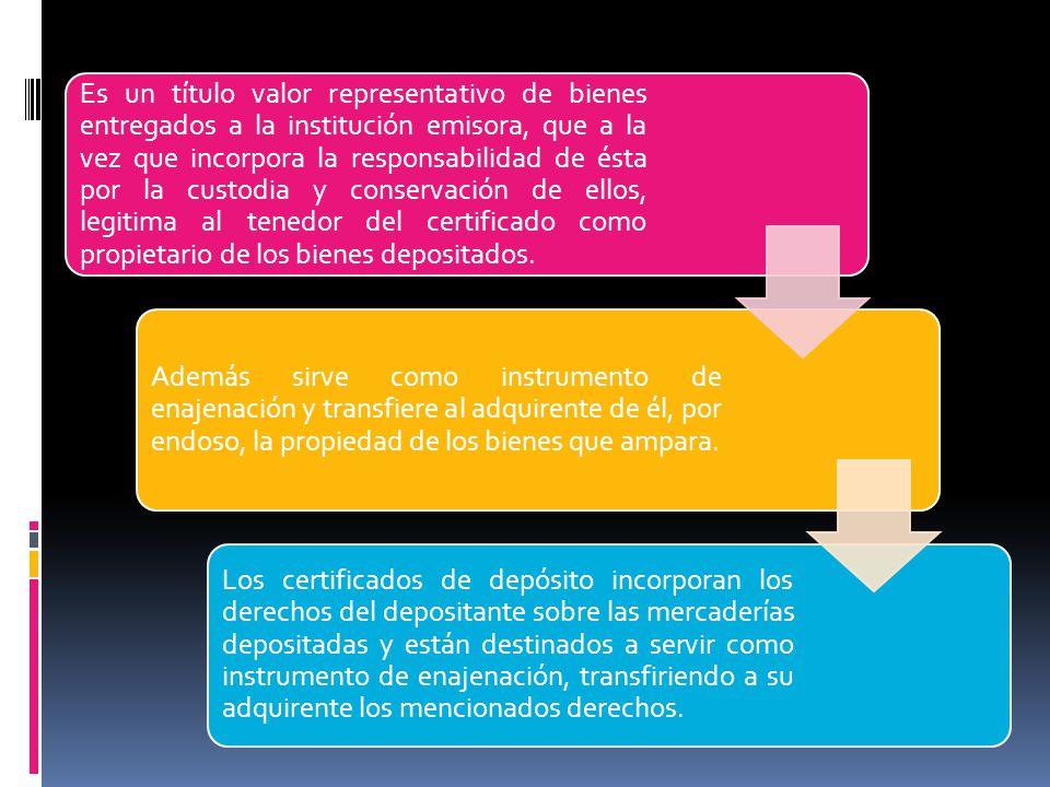 Características: - La designación del almacén, el lugar de depósito y la fecha de expedición del documento.