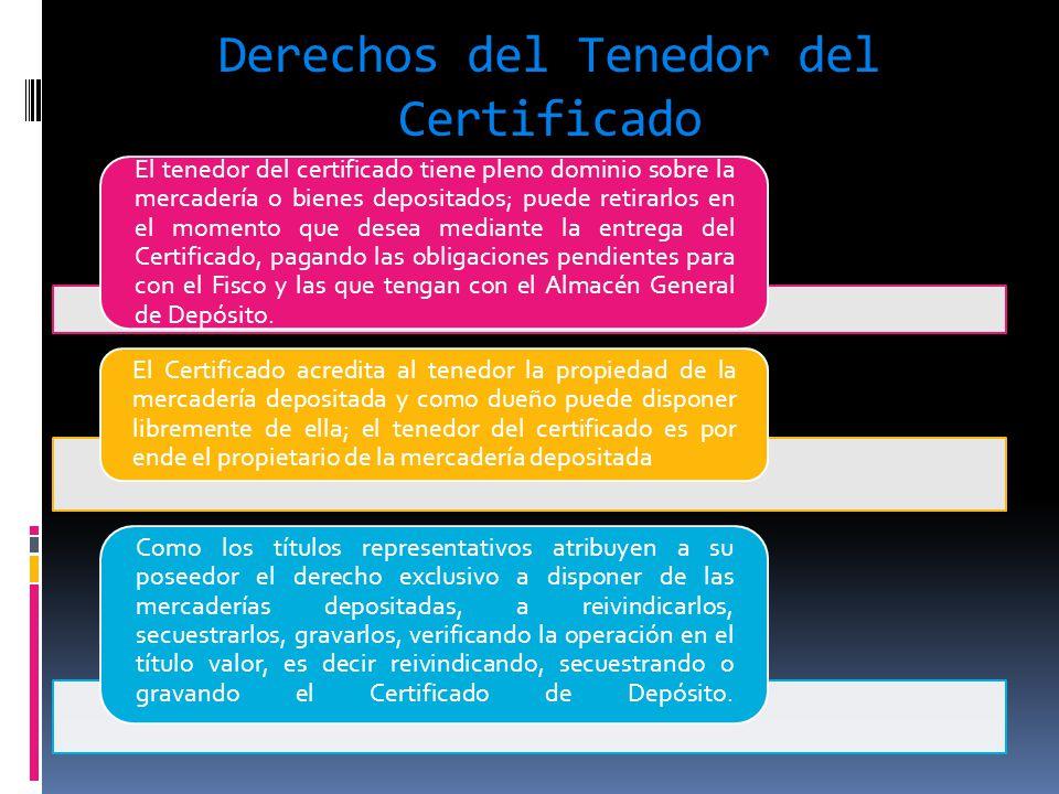 Derechos del Tenedor del Certificado El tenedor del certificado tiene pleno dominio sobre la mercadería o bienes depositados; puede retirarlos en el m