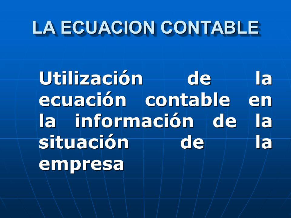 LA ECUACION CONTABLE Utilización de la ecuación contable en la información de la situación de la empresa