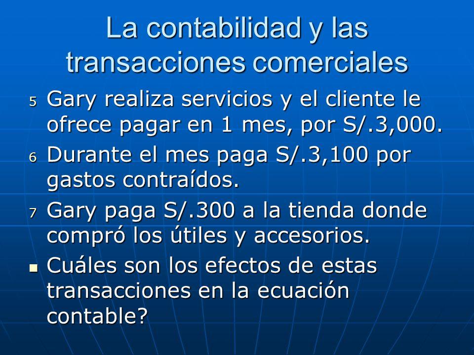 La contabilidad y las transacciones comerciales 5 Gary realiza servicios y el cliente le ofrece pagar en 1 mes, por S/.3,000. 6 Durante el mes paga S/