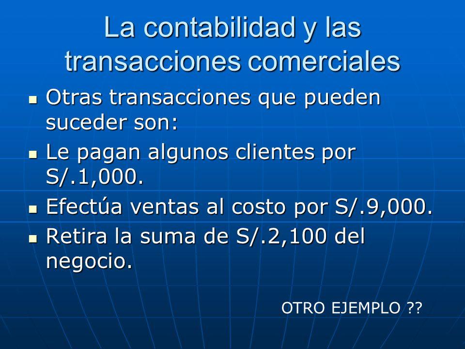 La contabilidad y las transacciones comerciales Otras transacciones que pueden suceder son: Otras transacciones que pueden suceder son: Le pagan algun