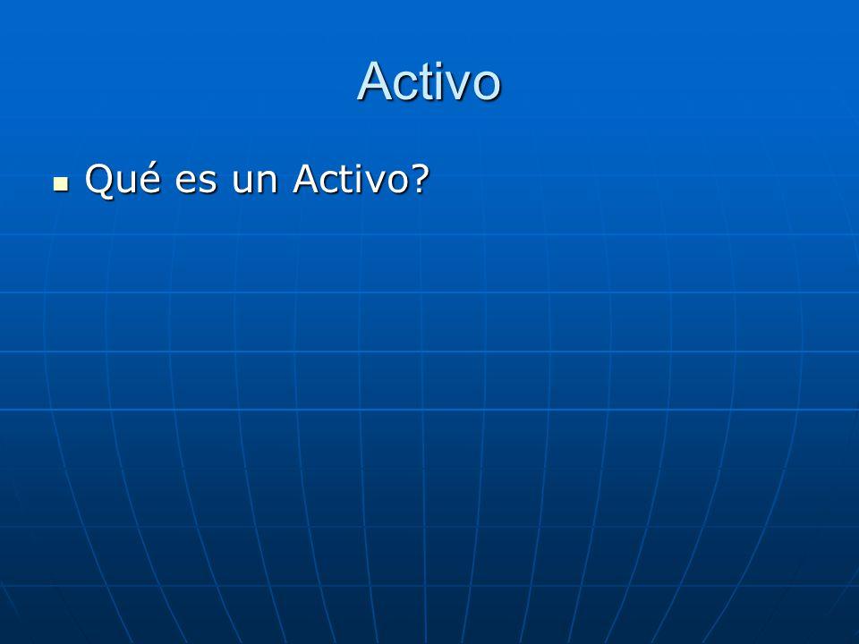Activo Qué es un Activo? Qué es un Activo?