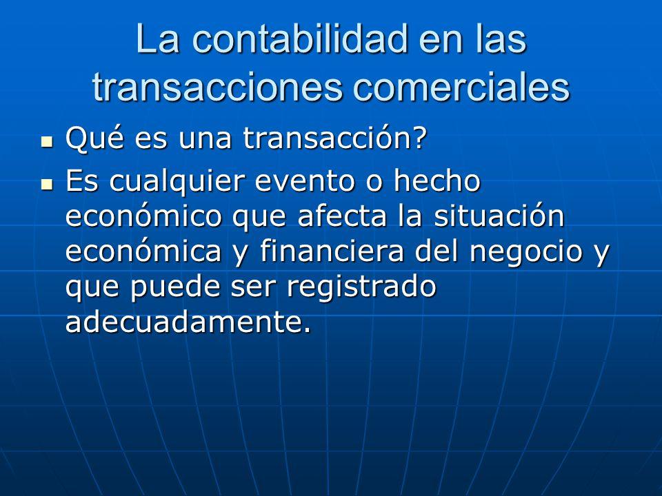 La contabilidad en las transacciones comerciales Qué es una transacción? Qué es una transacción? Es cualquier evento o hecho económico que afecta la s